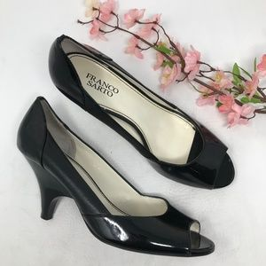 Franco Sarto Black Leather Peep Toe Heels 10 M